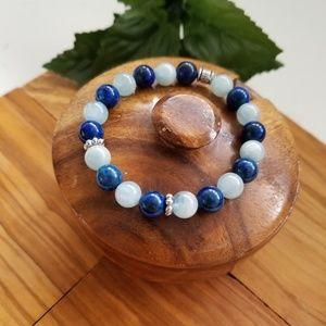 Jewelry - Genuine Aquamarine & Lapis Gemstone Bracelet